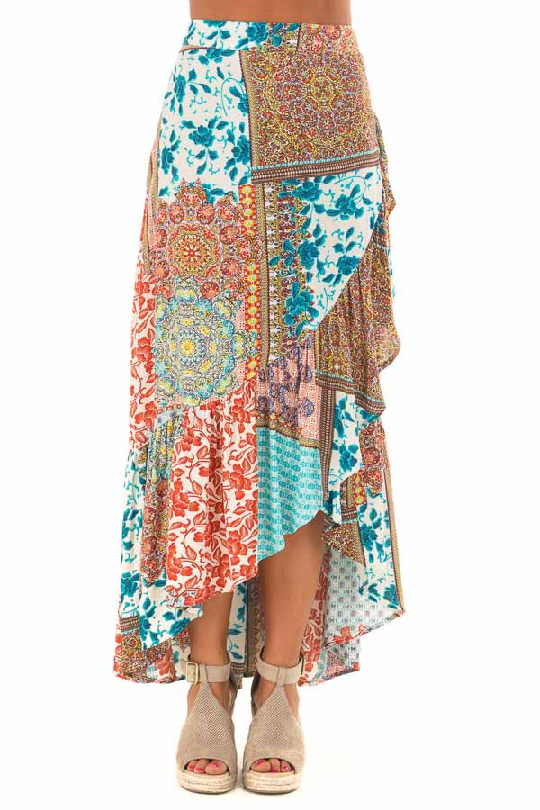 Turquoise Bohemian Patchwork Skirt with Wrap Style Front front view