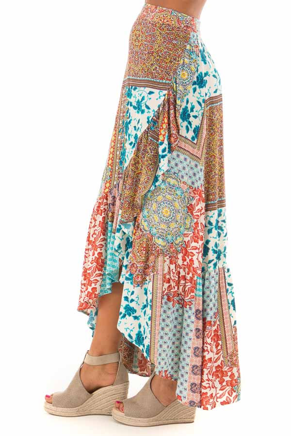 Turquoise Bohemian Patchwork Skirt with Wrap Style Front side view