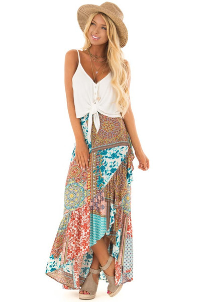 Turquoise Bohemian Patchwork Skirt with Wrap Style Front front full body