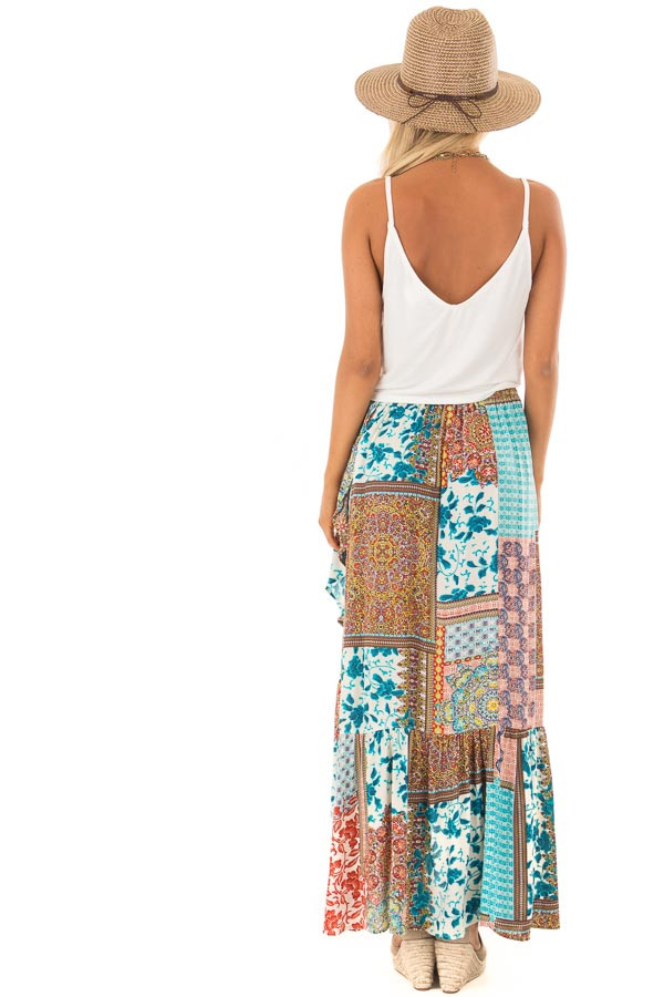 Turquoise Bohemian Patchwork Skirt with Wrap Style Front back full body