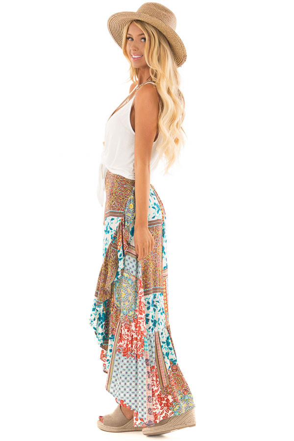 Turquoise Bohemian Patchwork Skirt with Wrap Style Front side full body