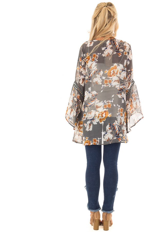 Grey Sheer Floral Open Front Kimono with Long Bell Sleeves back full body