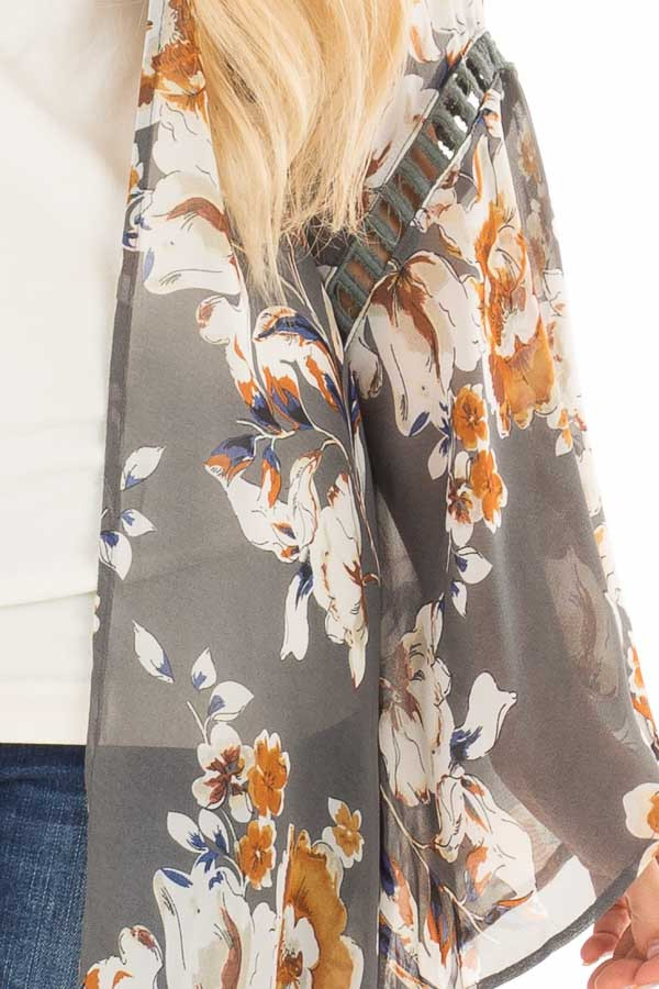Grey Sheer Floral Open Front Kimono with Long Bell Sleeves detail