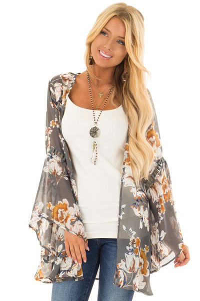 Grey Sheer Floral Open Front Kimono with Long Bell Sleeves front close up