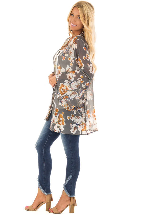 Grey Sheer Floral Open Front Kimono with Long Bell Sleeves side full body