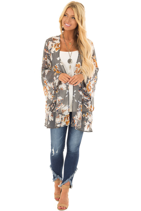 Grey Sheer Floral Open Front Kimono with Long Bell Sleeves front full body