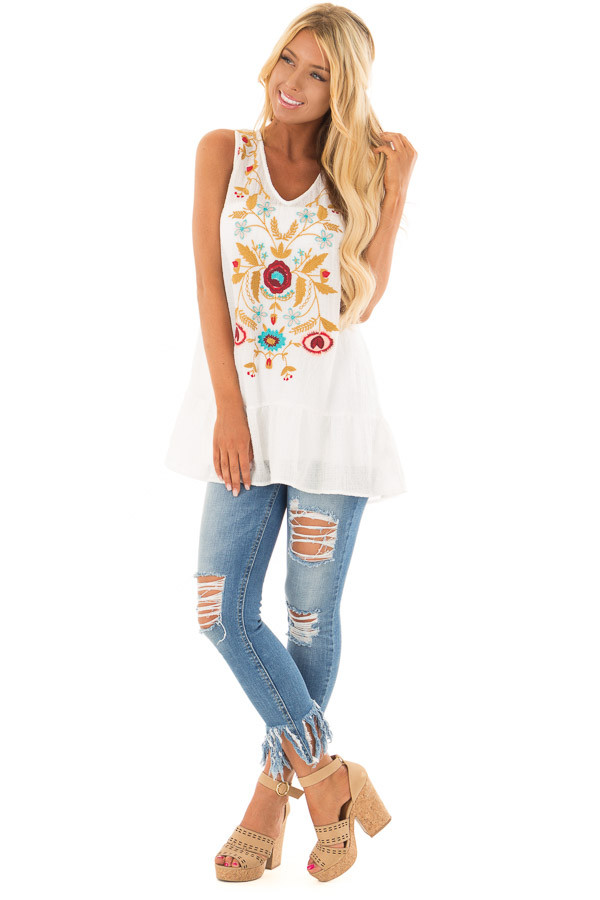 Off White Embroidered Tank Top with Ruffle Hem front full body