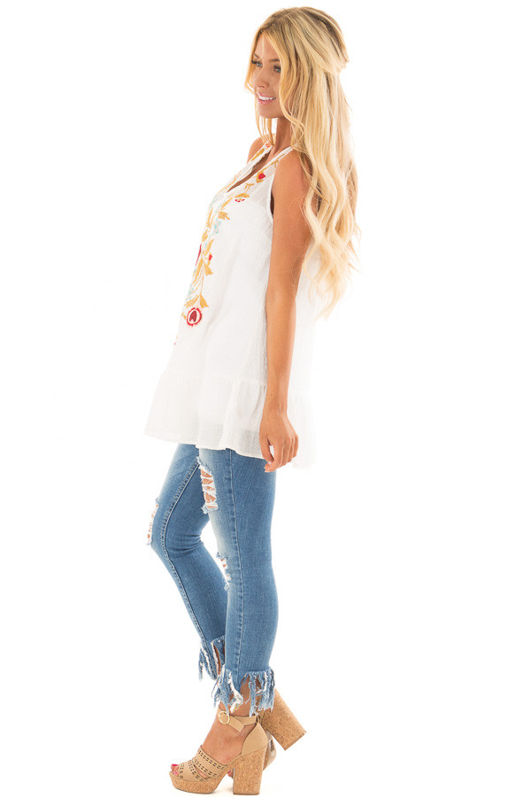 Off White Embroidered Tank Top with Ruffle Hem side full body