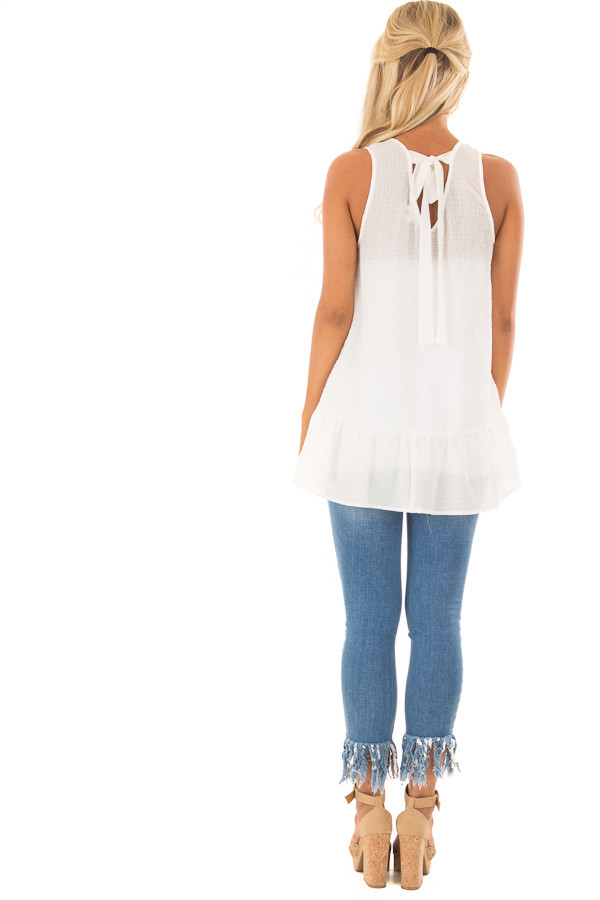 Off White Embroidered Tank Top with Ruffle Hem back full body