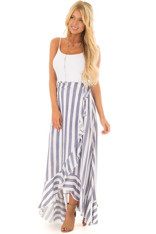 Navy and White Striped Ruffle Wrap Skirt front full body
