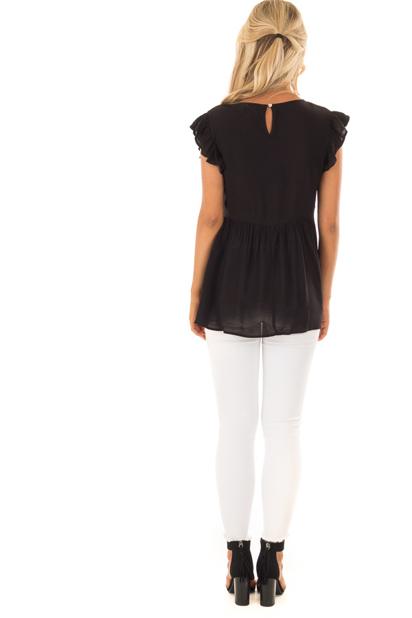 Black Embroidered Top with Neck Cut Out and Ruffle Sleeves back full body