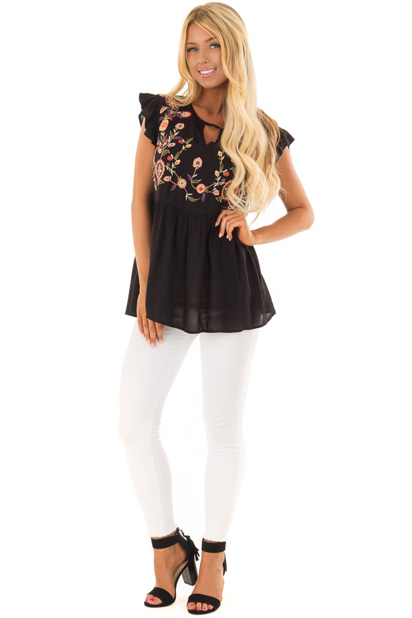 Black Embroidered Top with Neck Cut Out and Ruffle Sleeves front full body