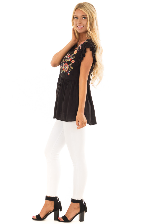 Black Embroidered Top with Neck Cut Out and Ruffle Sleeves side full body