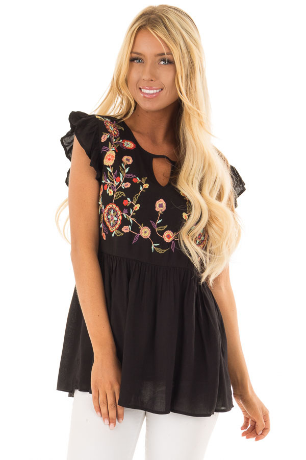 Black Embroidered Top with Neck Cut Out and Ruffle Sleeves front close up