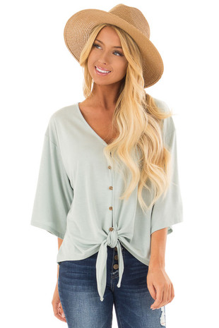 Pale Mint Button Up Top with 3/4 Sleeve and Front Tie Detail front close up