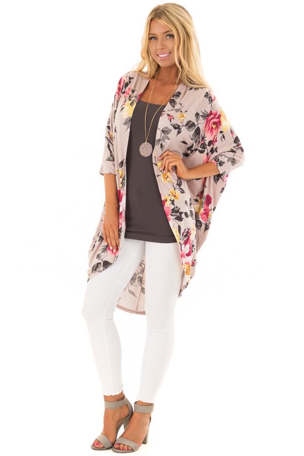 Dusty Rose Floral Print Open Front Kimono with Round Hemline front full body
