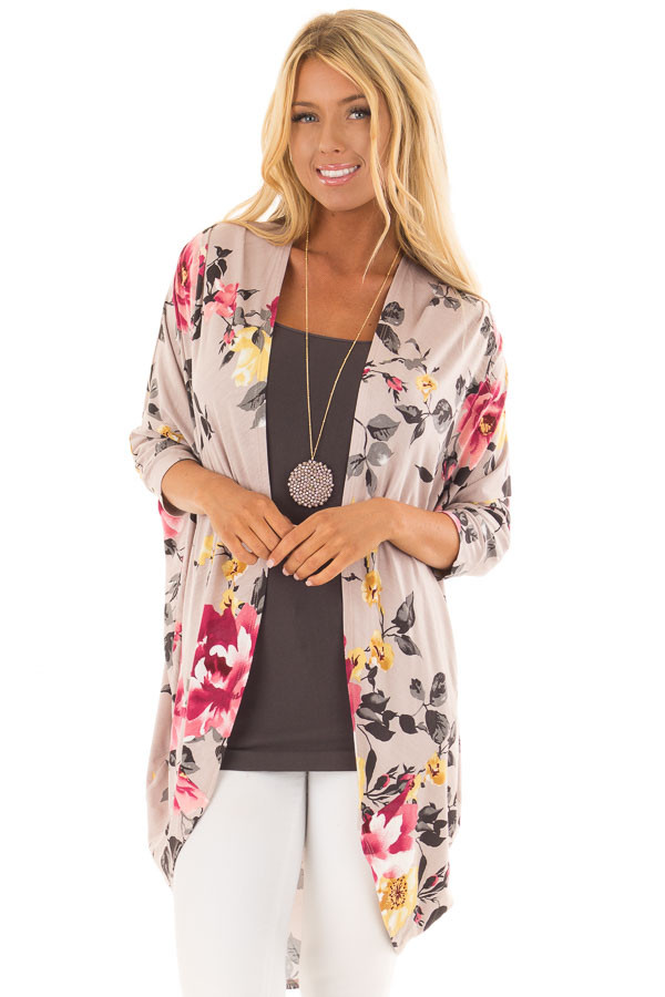 Dusty Rose Floral Print Open Front Kimono with Round Hemline front close up