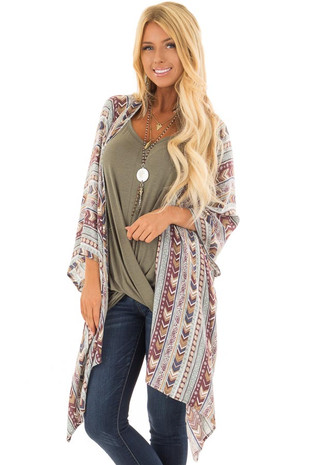 Multicolor Boho Striped Print Kimono front close up