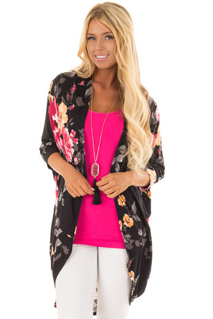 Black Floral Print Open Front Kimono with Round Hemline front close up