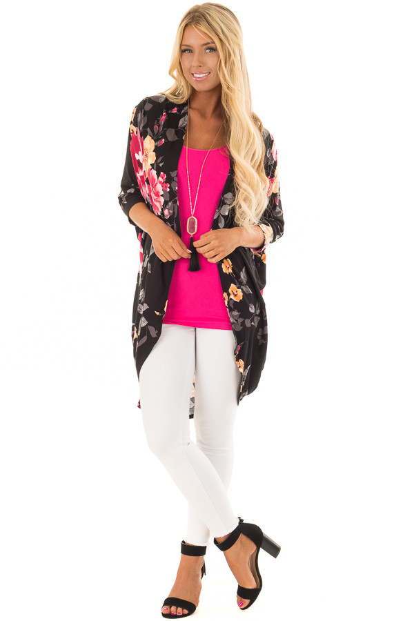 Black Floral Print Open Front Kimono with Round Hemline front full body
