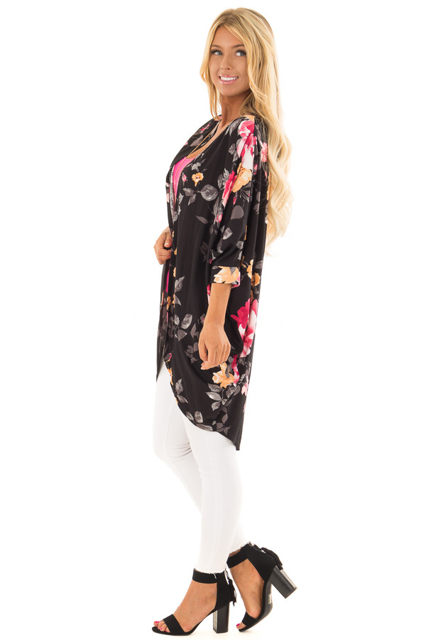 Black Floral Print Open Front Kimono with Round Hemline side full body