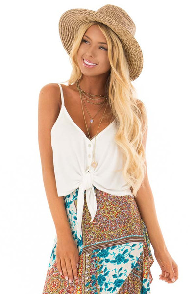 White Button Down Tank Top with Front Tie Detail front close up