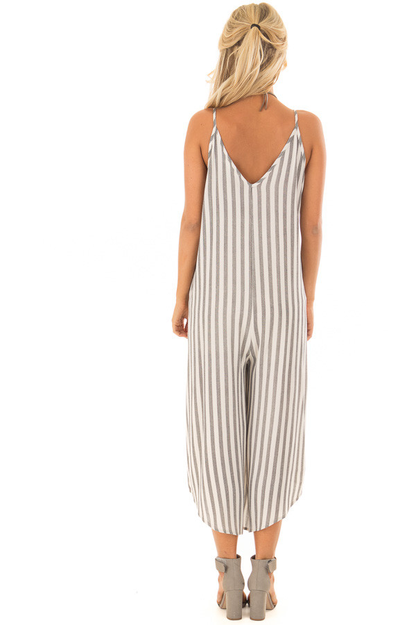 Charcoal Striped Jumpsuit with Cropped Asymmetric Hemline back full body
