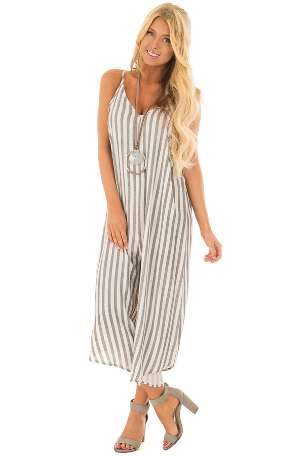 Charcoal Striped Jumpsuit with Cropped Asymmetric Hemline front full body