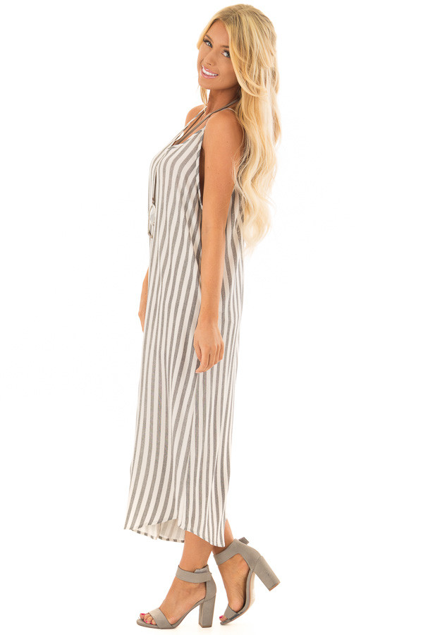 Charcoal Striped Jumpsuit with Cropped Asymmetric Hemline side full body