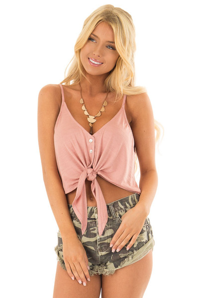 Mauve Button Down Tank Top with Front Tie Detail front close up