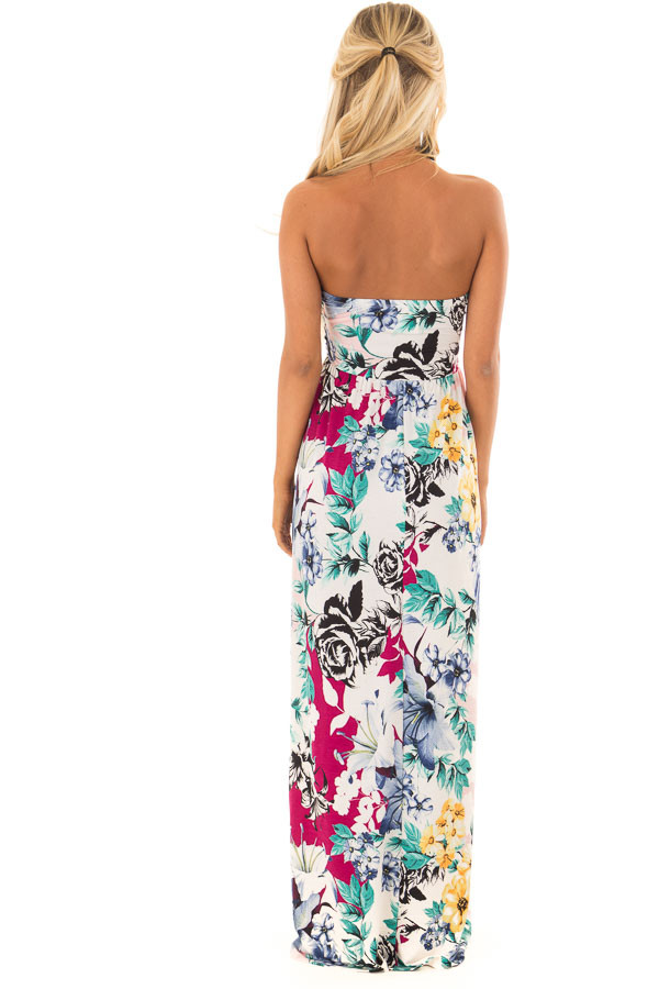 Cream Floral Print Strapless Maxi Dress with Side Pockets back full body