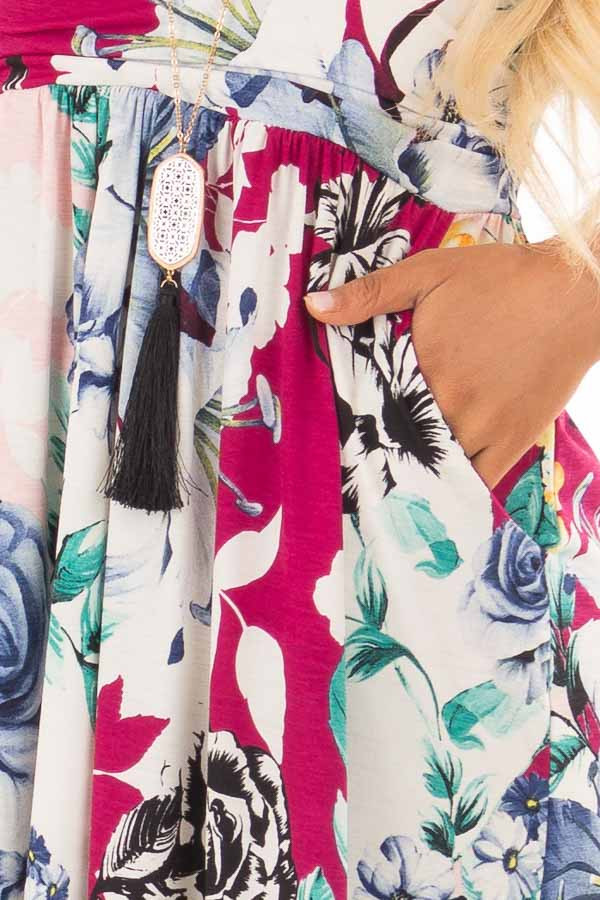 Cream Floral Print Strapless Maxi Dress with Side Pockets detail
