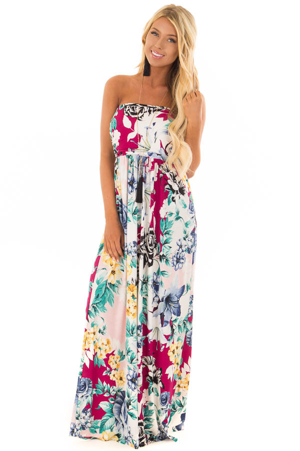 Cream Floral Print Strapless Maxi Dress with Side Pockets front full body