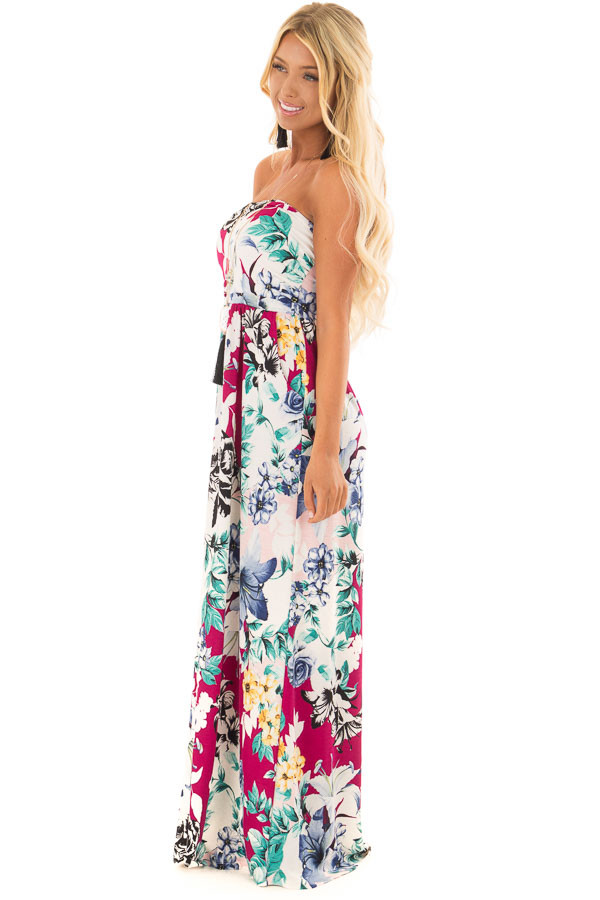 Cream Floral Print Strapless Maxi Dress with Side Pockets side full body