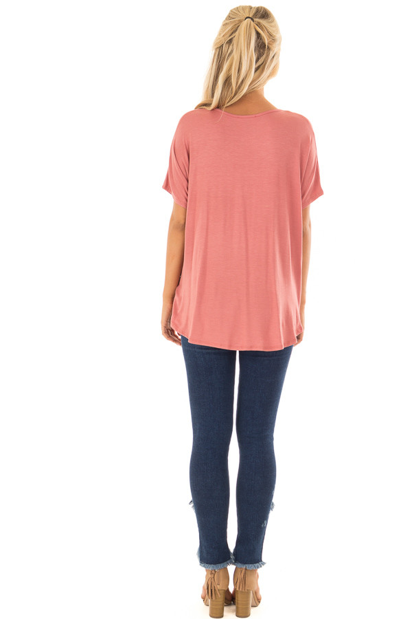 Rust Crossover Tee Shirt with Criss Cross Neckline back full body