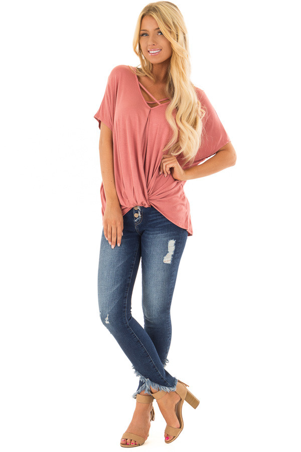Rust Crossover Tee Shirt with Criss Cross Neckline front full body