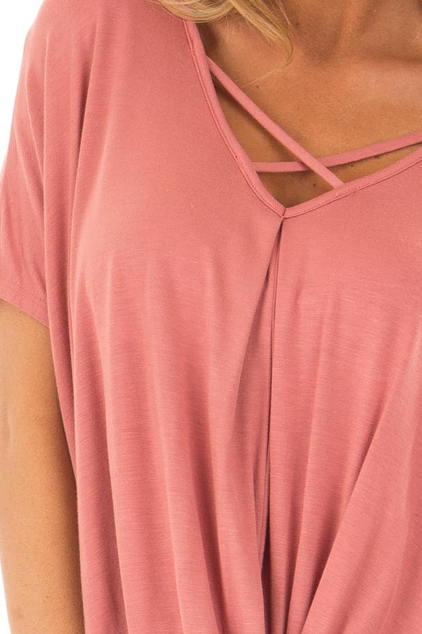 Rust Crossover Tee Shirt with Criss Cross Neckline detail