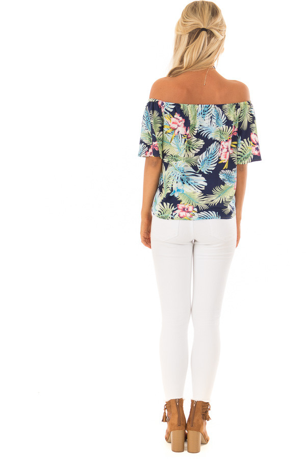 Navy Tropical Off the Shoulder Top with Front Tie Detail back full body