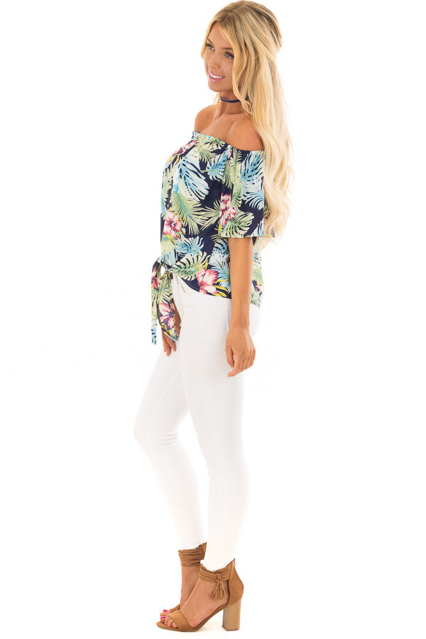 Navy Tropical Off the Shoulder Top with Front Tie Detail side full body
