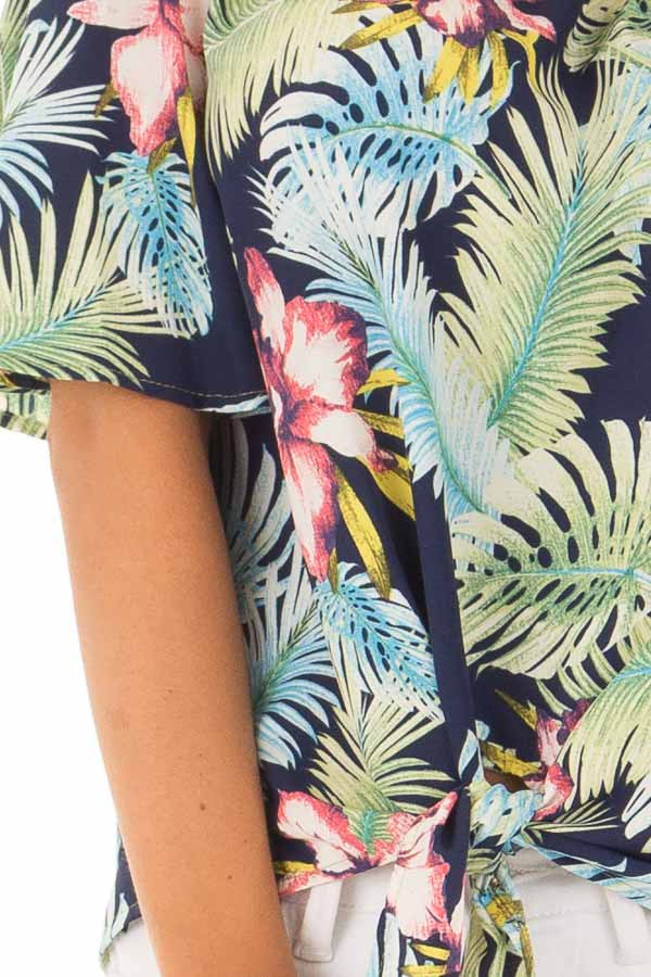 Navy Tropical Off the Shoulder Top with Front Tie Detail detail