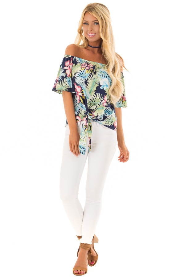 Navy Tropical Off the Shoulder Top with Front Tie Detail front full body