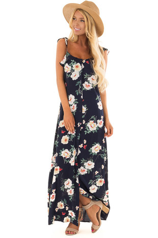 Navy Floral Print Button Down Dress with Ruffle Cap Sleeves front full body