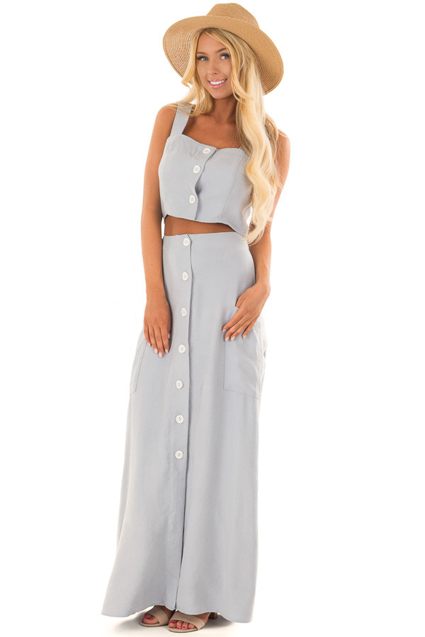 Cloud Blue Button Down Two Piece Set front full body