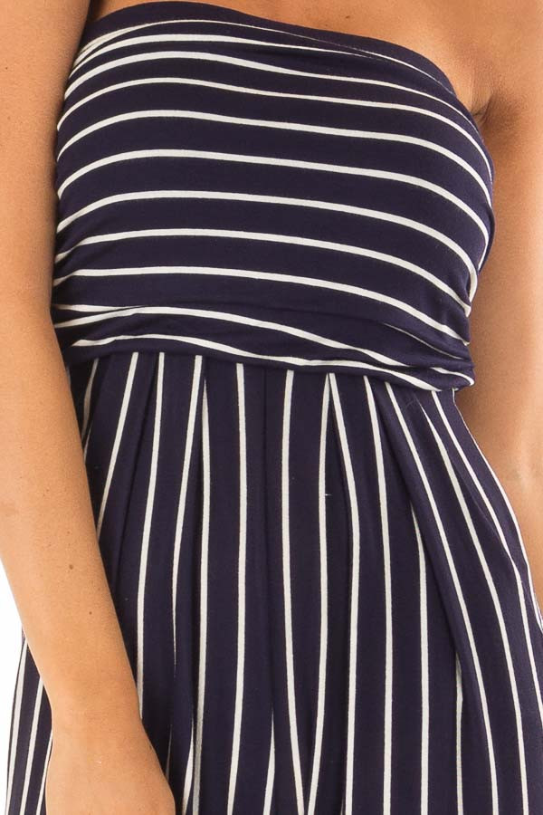 Navy and Off White Striped Sleeveless Jumpsuit detail