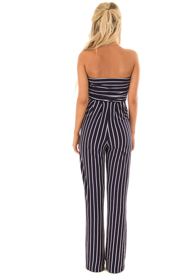 Navy and Off White Striped Sleeveless Jumpsuit back full body
