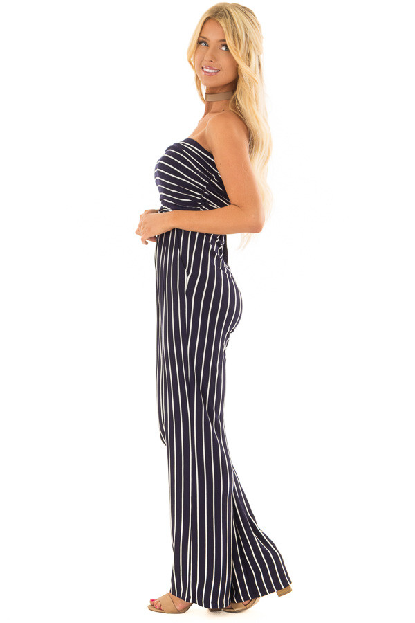 Navy and Off White Striped Sleeveless Jumpsuit side full body