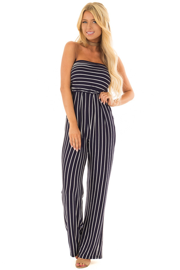 Navy and Off White Striped Sleeveless Jumpsuit front full body