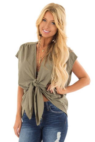 Olive Short Sleeve Front Tie Top with Gathered Shoulders front close up