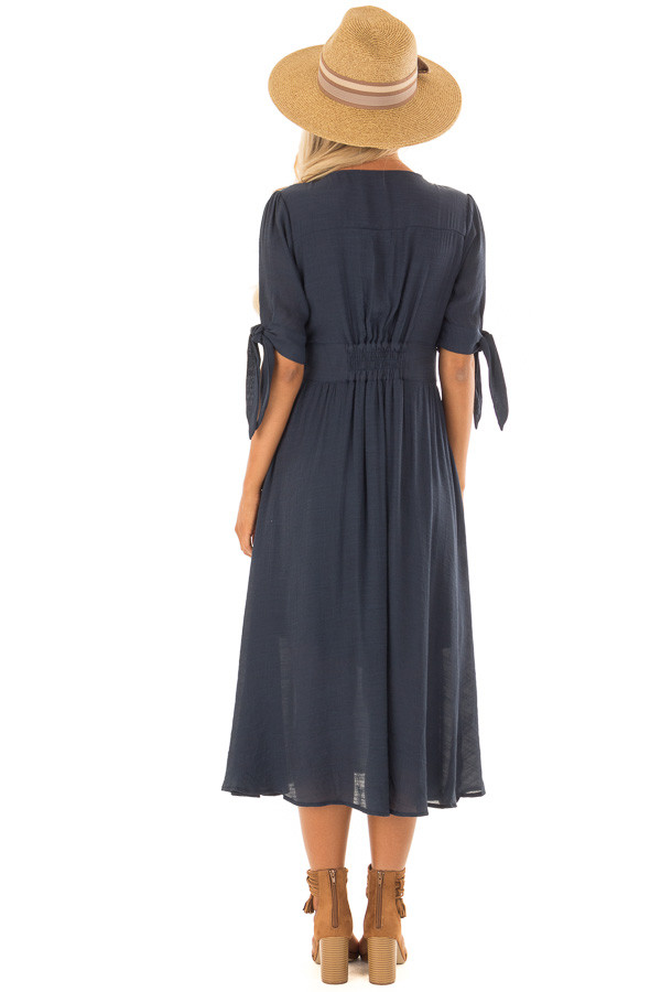 Deep Navy Button Down Dress with Tie Sleeve Detail back full body