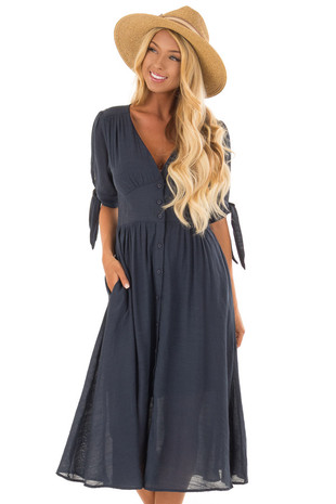Deep Navy Button Down Dress with Tie Sleeve Detail front close up
